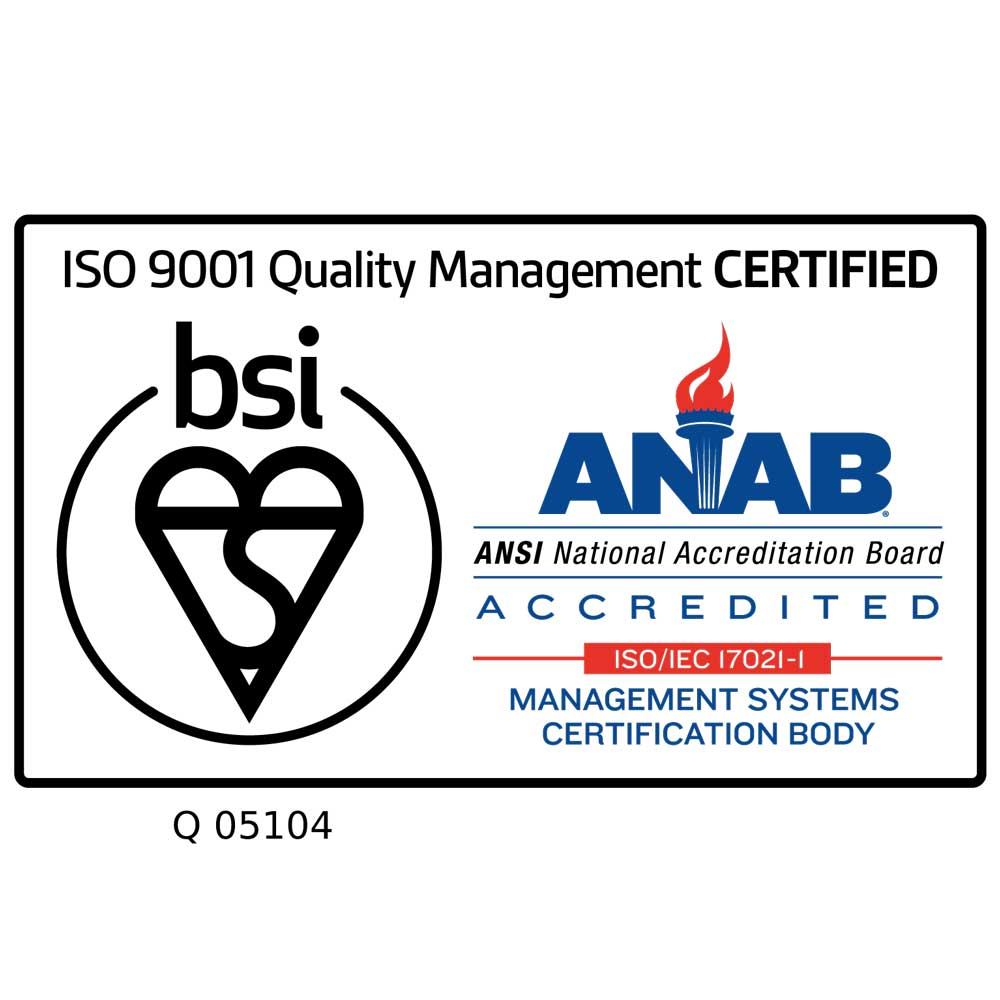 ISO 9001 Quality Management Certified - BSI ANAB